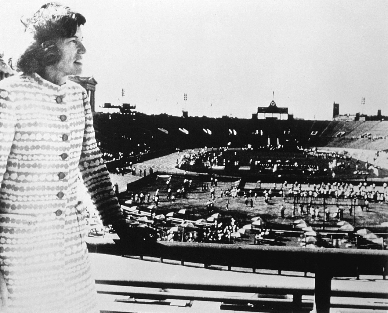 Eunice Kennedy Shriver overlooks Soldier Field at the 1968 Games.