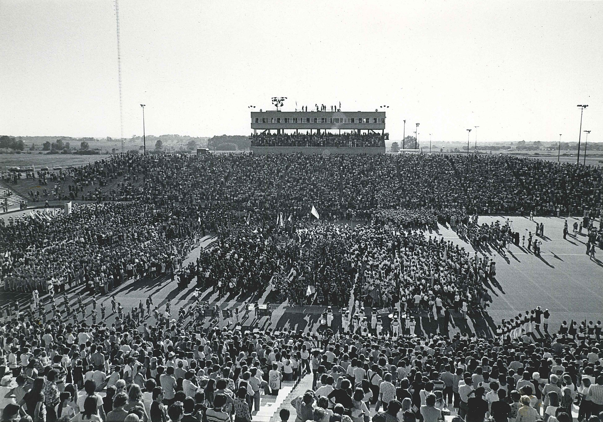 A crowd view of the 1975 World Games at Central Michigan University