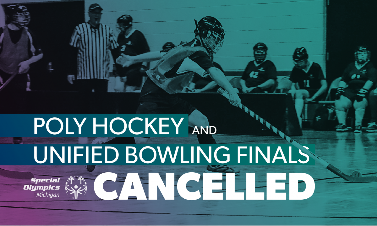 A hockey athlete in the background of text saying Poly Hockey & Unified Bowling Finals Cancelled