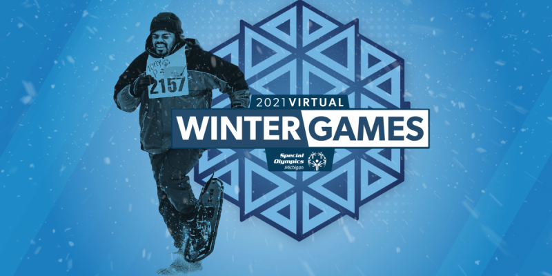 "A snowshoe athlete over top of a snowflake logo with the words ""Virtual Winter Games 2021"""