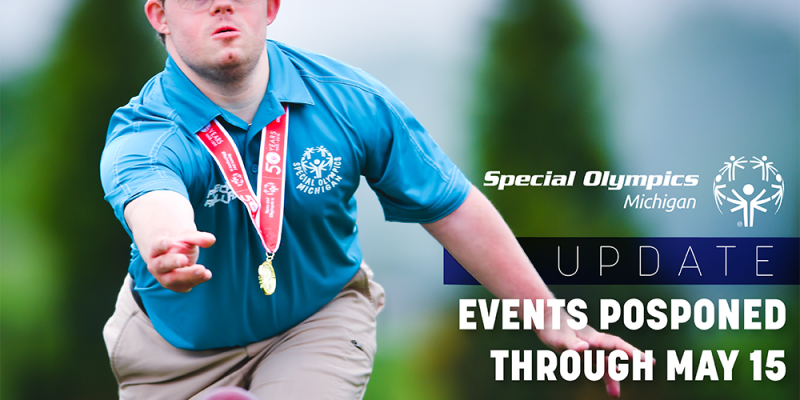 Bocce athlete with words saying events postponed through May 15
