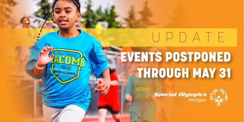 "Middle school-aged athlete running next to the words ""events cancelled through May 31"""