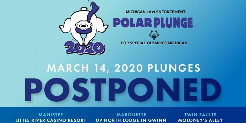 Polar Plunge logo with words saying final three Polar Plunges are postponed