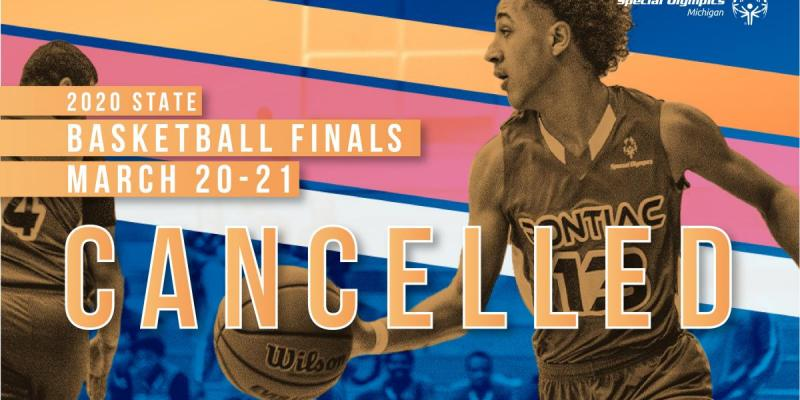 State Basketball Finals Cancelled text with basketball players in background of image.
