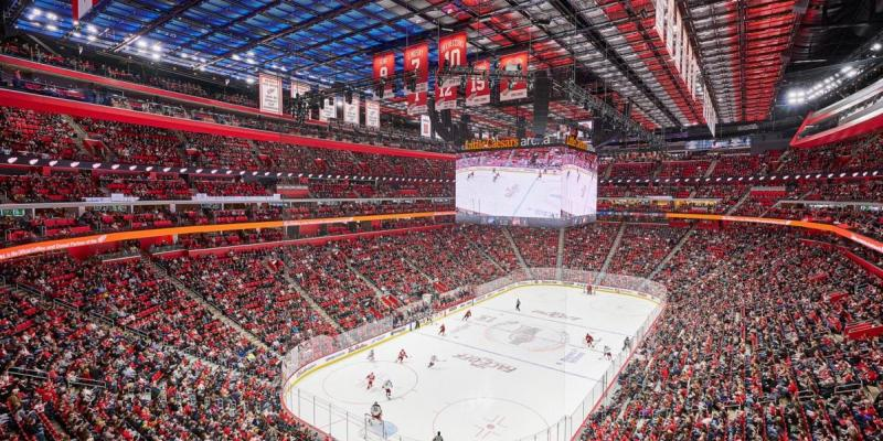 Little Caesars Arena packed with fans during a Red Wings Game
