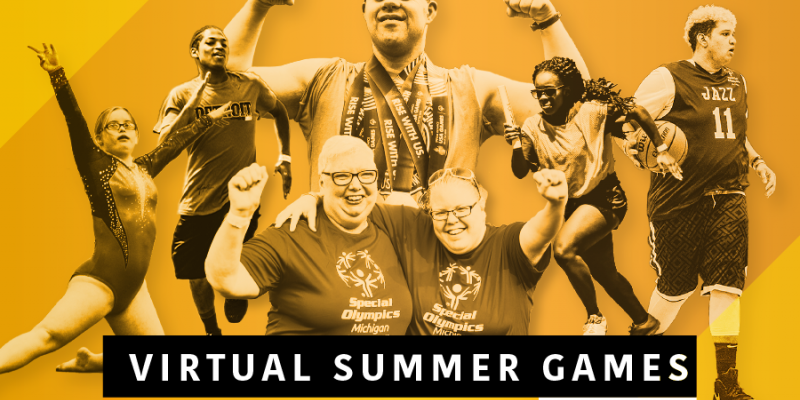"Special Olympics Michigan athletes on a gold background with the words ""Virtual Summer Games"""