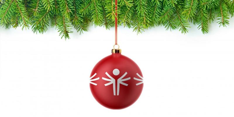 Red, round Special Olympics holiday ornament