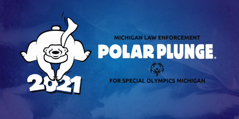 Polar Plunge logo over top of dark blue water